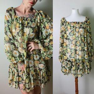 e3b55db09f214 KATE MOSS 🖤 TOPSHOP Silk Chiffon Floral Dress